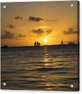 Sunset On Two Masts  Acrylic Print