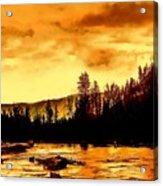 Sunset At  Yellowstone Lake Acrylic Print