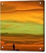 Sunset Orange And Green Acrylic Print