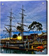 Sunset Over A Tall Ship Acrylic Print