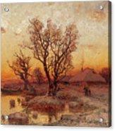 Sunset Over A Ukrainian Hamlet Acrylic Print