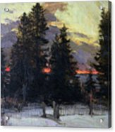 Sunset Over A Winter Landscape Acrylic Print by Abram Efimovich Arkhipov