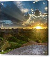 Sunset Over Badlands Np Yellow Mounds Overlook Acrylic Print