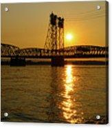 Sunset Over Columbia Crossing I-5 Bridge Acrylic Print