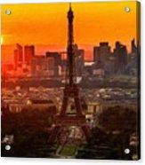 Sunset Over Eiffel Tower Acrylic Print