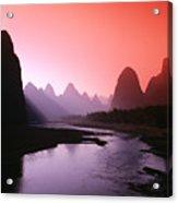 Sunset Over Li River Acrylic Print