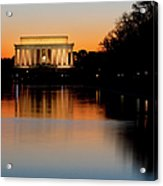 Sunset Over Lincoln Memorial Acrylic Print