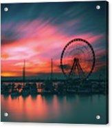 Sunset Over National Harbor Ferris Wheel Acrylic Print