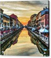 Sunset Over Naviglio Grande Acrylic Print