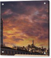 Sunset Over Port Of San Francisco Ferry Building Acrylic Print