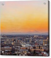 Sunset Over Portland Cityscape And Mt Saint Helens Acrylic Print