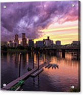 Sunset Over Portland Oregon Downtown Waterfront Acrylic Print