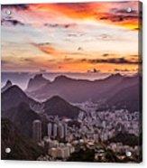 Sunset Over Rio De Janeiro  Acrylic Print