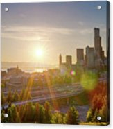 Sunset Over Seattle Downtown Skyline Acrylic Print