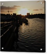 Sunset Over Sutton Harbour Plymouth Acrylic Print