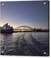 Sunset Over Sydney Harbor Bridge And Sydney Opera House Acrylic Print
