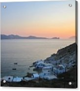 Sunset Over The Fishing Cove Of Klima On The Cycladic Island Of Milos Acrylic Print