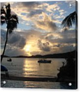 Sunset Over The Inifinity Pool At Frenchman's Cove In St. Thomas Acrylic Print