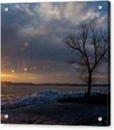 Sunset Over The Mississippi In Wisconsin Acrylic Print