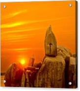 Bismarck Rock At Sunset Acrylic Print