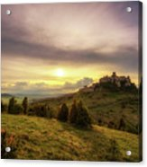 Sunset Over The Ruins Of Spis Castle In Slovakia Acrylic Print