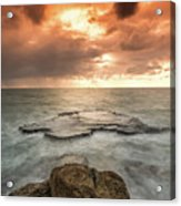 Sunset Over The Sea In Israel Acrylic Print