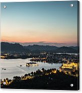 Sunset Over Udaipur In India Acrylic Print