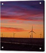 Sunset Over Windmills Field Acrylic Print