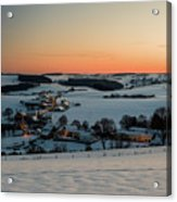 Sunset Over Winter Landscape Acrylic Print