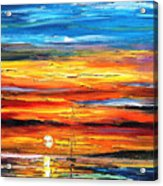 Sunset - Palette Knife Oil Painting On Canvas By Leonid Afremov Acrylic Print