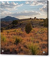 Sunset Panorama Of Blue Mountain At Davis Mountains State Park - Indian Lodge Trail Fort Davis Texas Acrylic Print