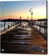 Sunset Pier Acrylic Print by Extrospection Art