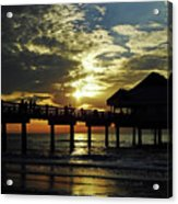 Sunset Pier Reflection Acrylic Print
