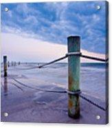 Sunset Reef Pilings Acrylic Print by Adam Pender