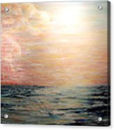 Sunset Right In The Middle Of An Ocean Acrylic Print