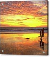 Sunset Ocean Runners Acrylic Print