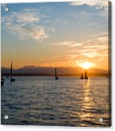 Sunset Sailboats Acrylic Print