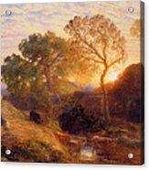 Sunset Acrylic Print by Samuel Palmer