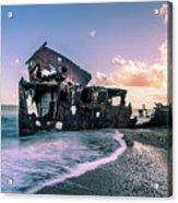 Sunset Shipwreck Acrylic Print