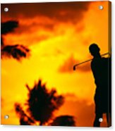 Sunset Silhouetted Golfer Acrylic Print