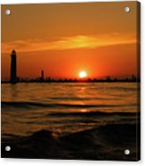 Sunset Silhouettes At Grand Haven Michigan Acrylic Print