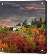 Sunset Sky Over Farm House In Rural Oregon Acrylic Print