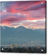 Sunset Sky Over Port Of Vancouver Bc Acrylic Print