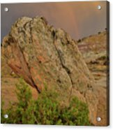 Sunset Storm Over Bentonite Site Boulders Acrylic Print