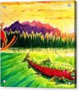 Skiing Into The Sunset Acrylic Print