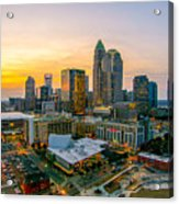 Sunset Sunrise Over Charlotte Skyline North Carolina Acrylic Print