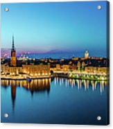 Sunset To Blue Hour Panorama Over Gamla Stan In Stockholm Acrylic Print