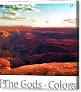 Sunset Tour Valley Of The Gods Utah Pan 09 Text Acrylic Print