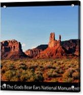 Sunset Tour Valley Of The Gods Utah Text 09 Black Acrylic Print