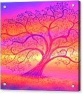 Sunset Tree Cats Acrylic Print